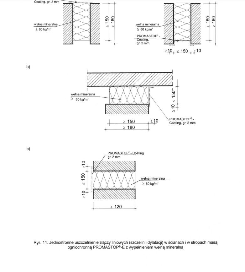 Detal dylatacji - rysunek techniczny
