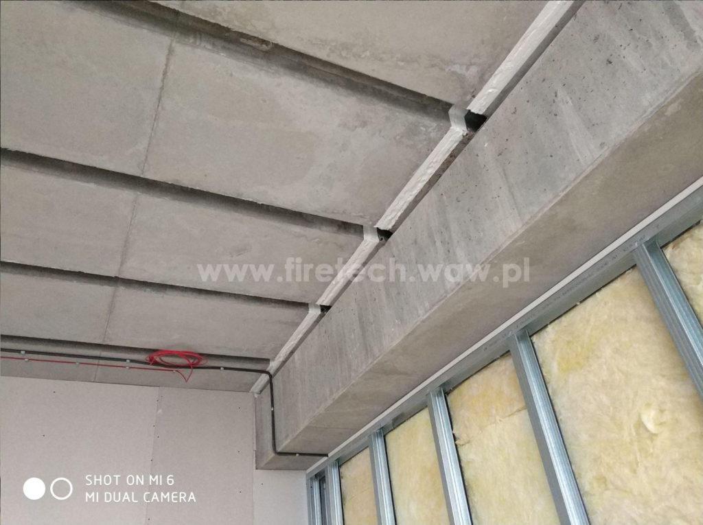 Zabezpieczenie przeciwpożarowe dylatacji w stropie