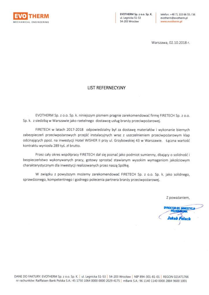 List referencyjny EVOTHERM dla FIRETECH