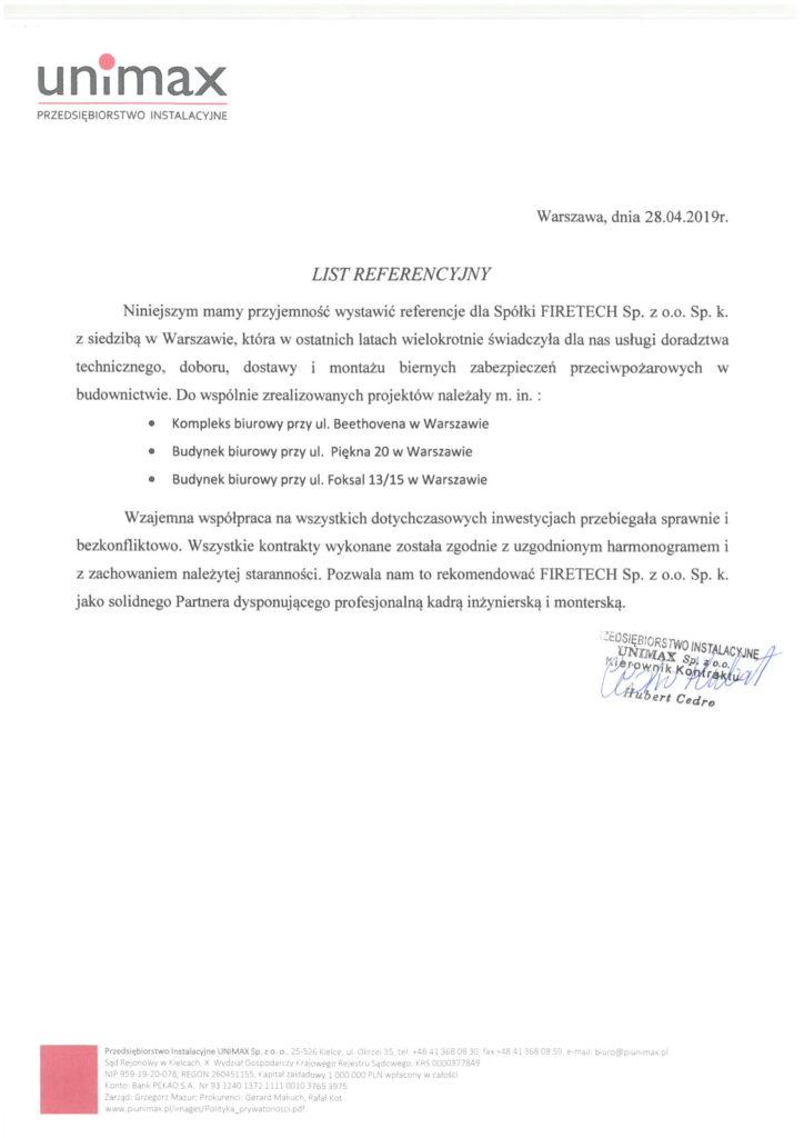 List referencyjny UNIMAX dla FIRETECH