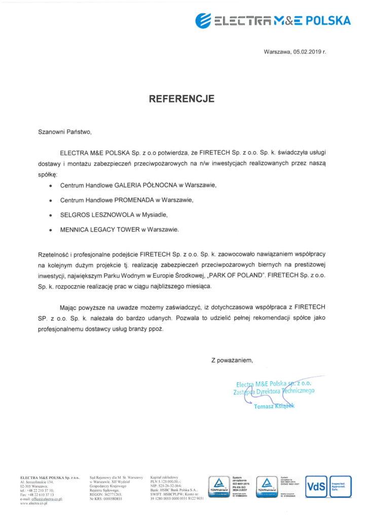 List referencyjny ELECTRA M&E POLSKA dla FIRETECH