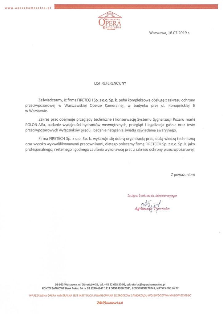 List referencyjny Warszawskiej Opery Kameralnej dla FIRETECH