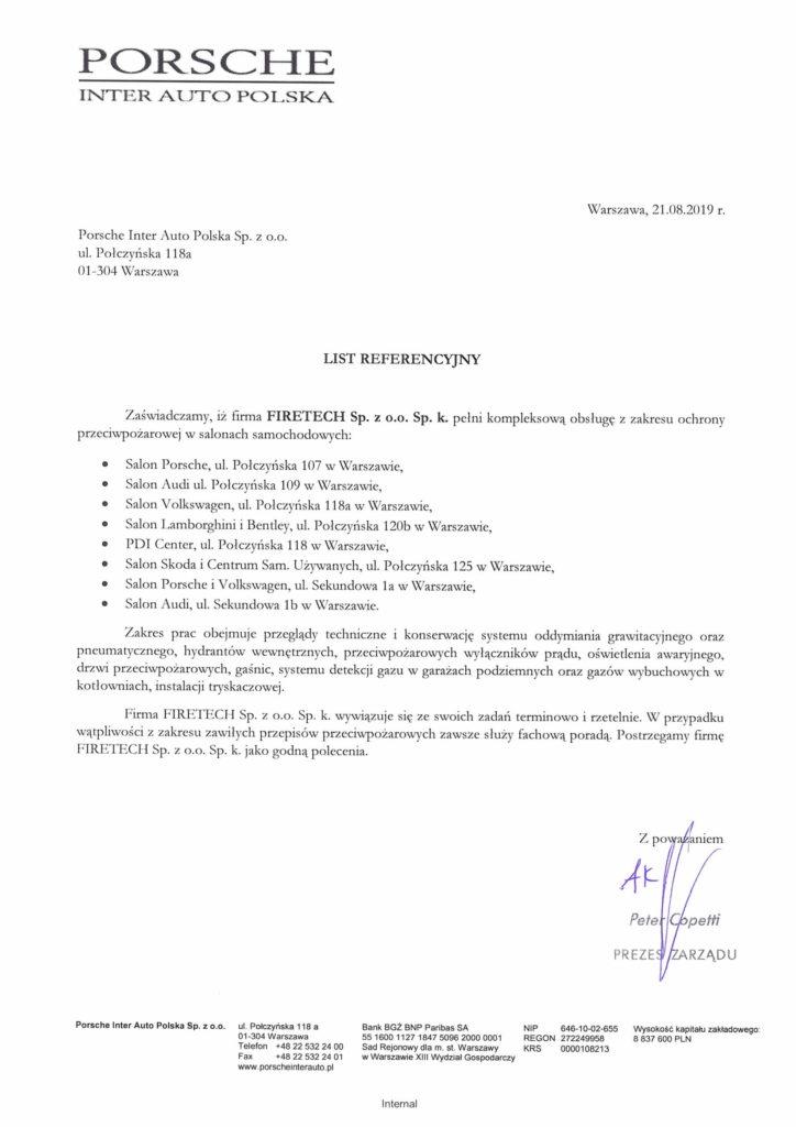 List referencyjny PORSCHE dla FIRETECH