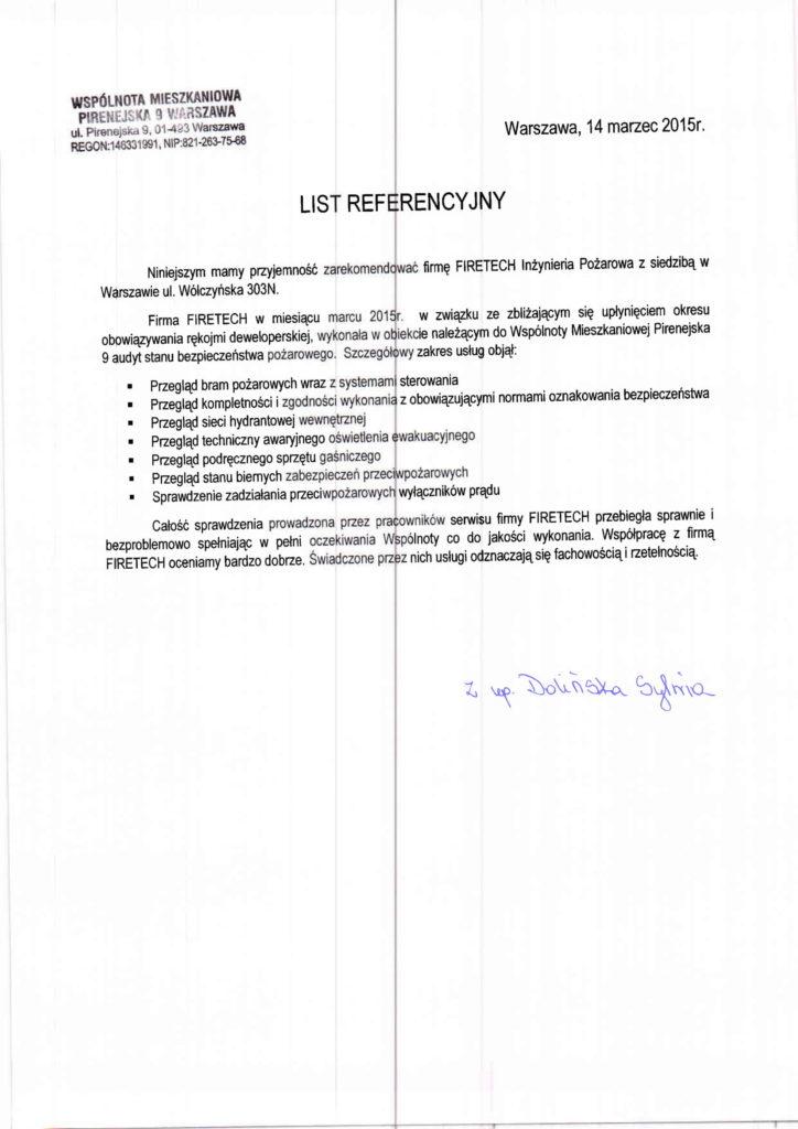 List referencyjny WSPÓLNOTY MIESZKANIOWEJ PIRENEJSKA 9 dla FIRETECH