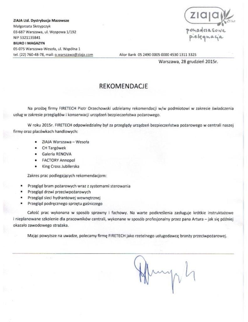 List referencyjny ZIAJA dla FIRETECH
