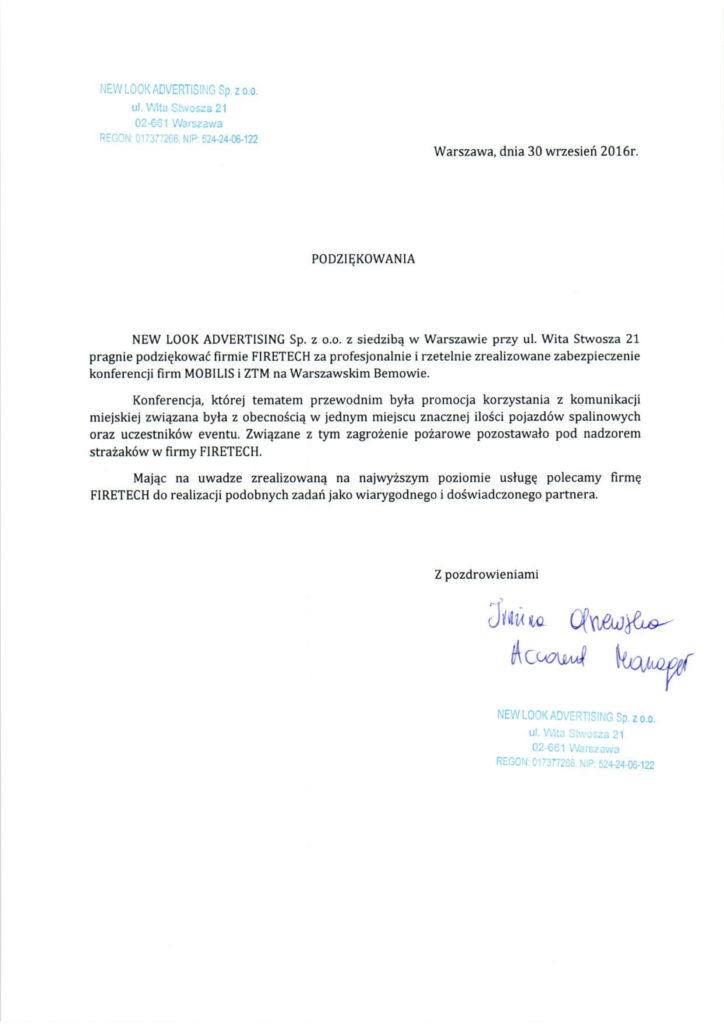 List referencyjny NEWLOOK dla FIRETECH