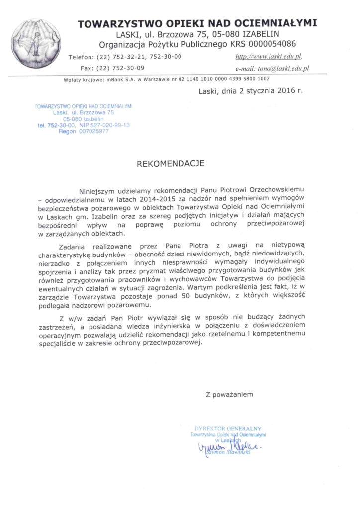 List referencyjny TONO LASKI dla FIRETECH