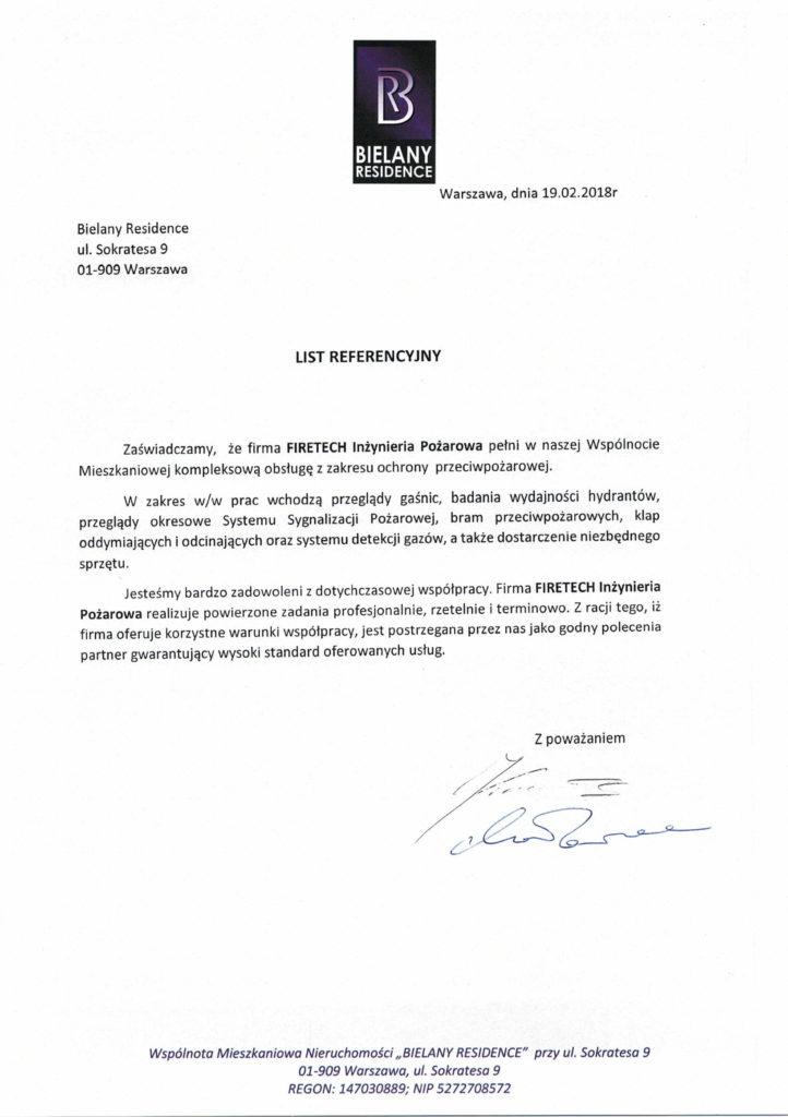 List referencyjny BIELANY RESIDENCE dla FIRETECH
