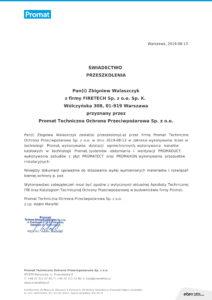 Certyfikat Firetech - natryski ogniochronne